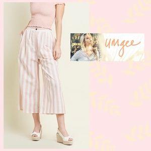Umgee High Waisted Wide Leg Stripe Pants W/Pockets